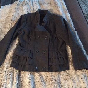 Other - Girls grey pea coat with a ruffle back
